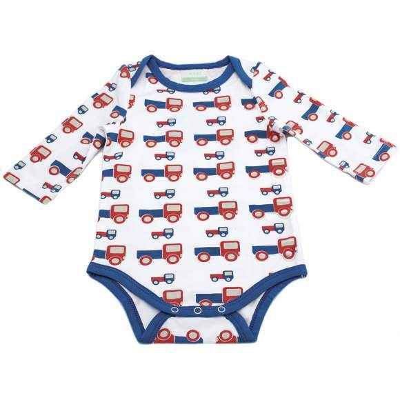 Truck Print Long Sleeve Baby Boy Bodysuit (Organic Cotton and Bamboo)