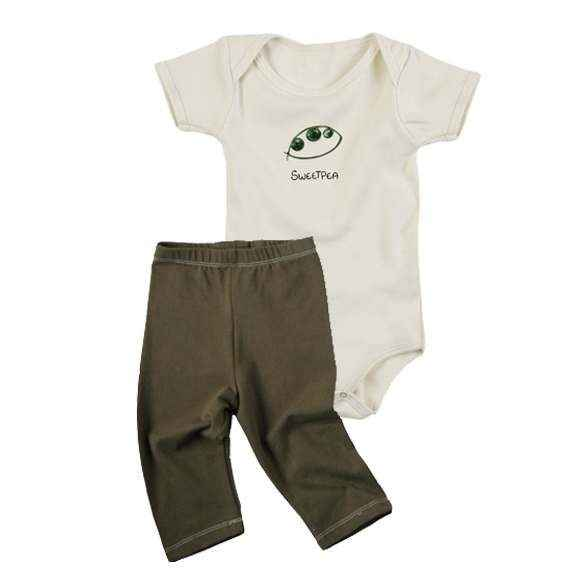 Sweetpea Baby Outfit Gift Set with Short Sleeve Bodysuit and Pants (Organic Cotton)