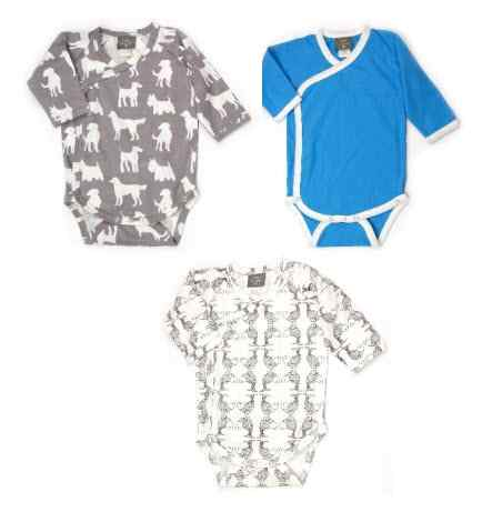 Koi & Dog 3-Piece Long Sleeve Kimono Baby Bodysuit Newborn Gift Set (Organic Cotton)