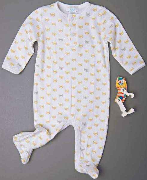 Little Fox Print Long Sleeve Baby Footie Romper and Pajamas (Organic Cotton)