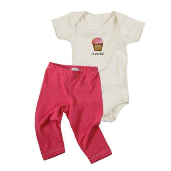 Cupcake Baby Girl Outfit Gift Set with Short Sleeve Bodysuit and Pants (Organic Cotton)