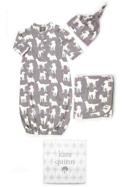 Dog Print Snuggle Baby Gown, Hat & Swaddling/Stroller Blanket Newborn Boutique Gift Set (Organic Cotton)
