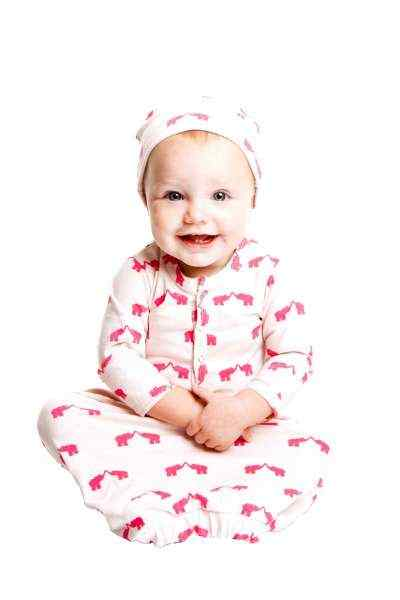 Pink Elephant Print Baby Girl Gown & Hat Outfit Gift Set (Organic Cotton)