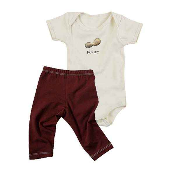Peanut Baby Outfit Gift Set with Short Sleeve Bodysuit & Pants (Organic Cotton)