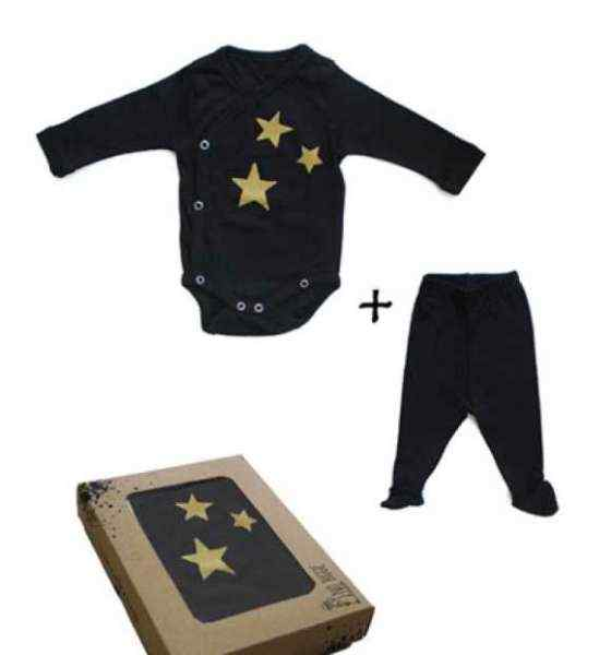 Gold Star Baby Outfit Gift Set with Long Sleeve Bodysuit and Footed Pants (Organic Cotton)