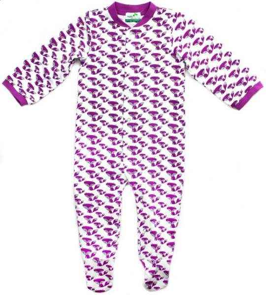 Purple Fox Print Long Sleeve Baby Footie Romper and One Piece Pajamas (Organic Cotton and Bamboo)