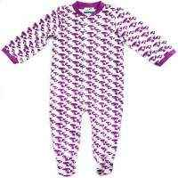 Purple Fox Print Organic Cotton & Bamboo Long Sleeve Baby Footie Romper