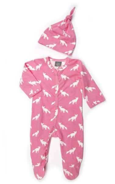 Pink Fox Print Long Sleeve Footed Baby Girl Romper and Hat Outfit Gift Set (Organic Cotton)