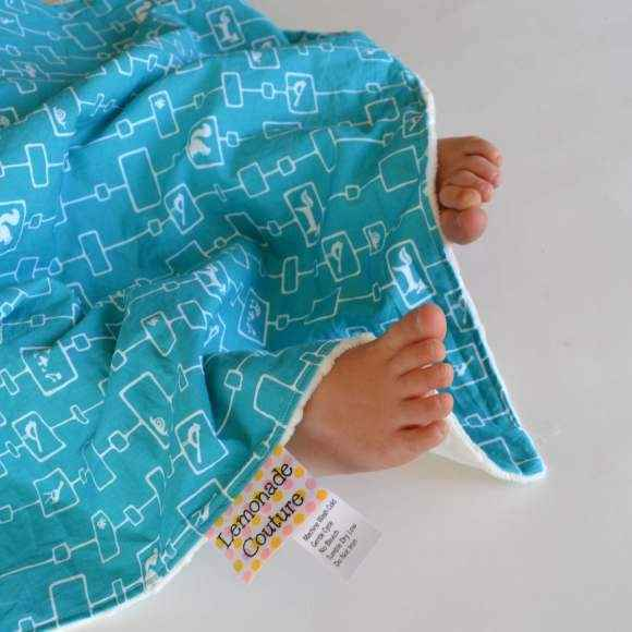 Forest Print Organic Cotton and Minky Travel Baby Blanket and Oversized Security Blanket (American Made and Organic Cotton)