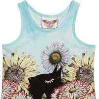 Scotties and Flowers Sleeveless Big Girls Tee (Organic Cotton)