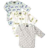 Organic Cotton Triple Wrap Bodysuit Set in Squares, Goldfish, and Elephants