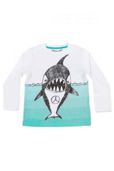Peace Whale Long Sleeve Big Boys Tee (Organic Cotton)