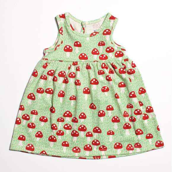 Mushroom Retro Sleeveless Baby Girl Dress (American Made and Organic Cotton)