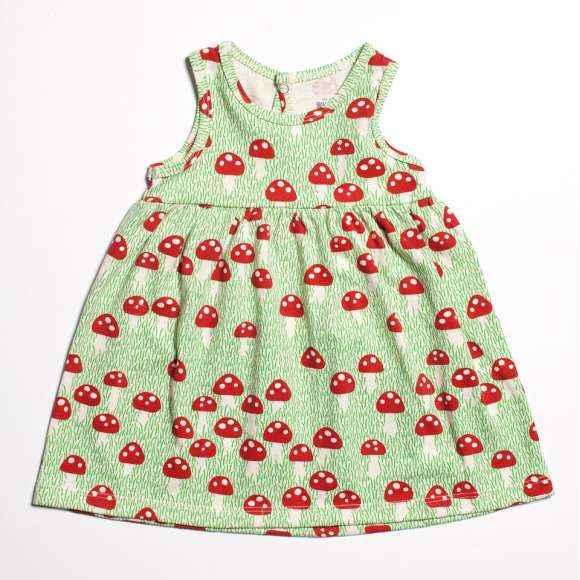 Mushroom Retro Sleeveless Baby Girl Dress (American Made and Organic Cotton)