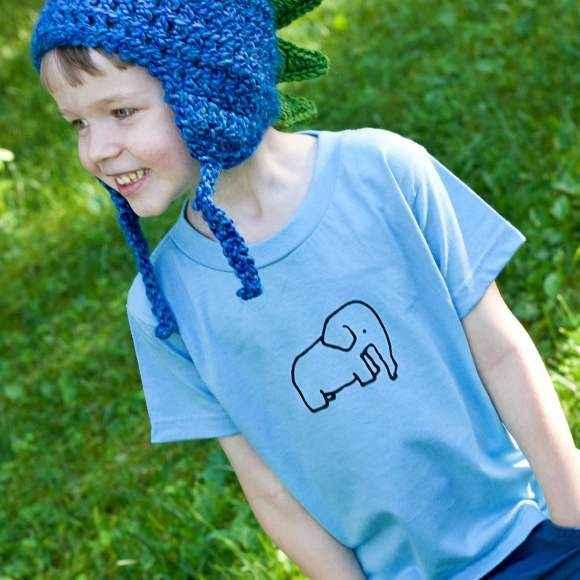Elephant Toddler Boys Blue Short Sleeve T Shirt (Organic Cotton)