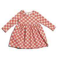 Scarlet Floral Organic Cotton Long Sleeve Little Girls Dress (American Made)