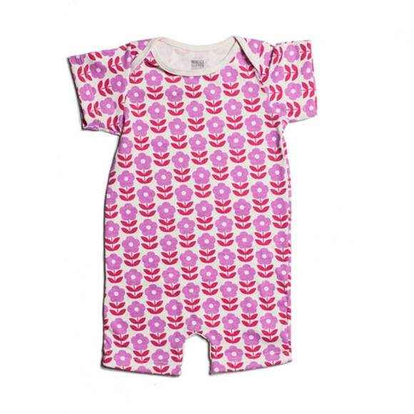 Danish Flower Print Short Sleeve Baby Girl Romper and One Piece Pajamas (American Made and Organic Cotton)