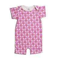 Danish Flower Print Organic Cotton Short Sleeve Baby Girl Romper (American Made)