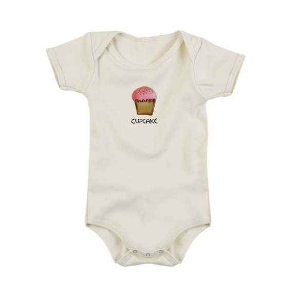 Cupcake Short Sleeve Baby Girl Bodysuit (Organic Cotton)