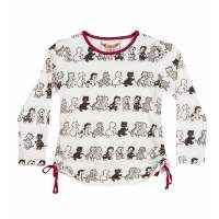 Vintage Kitten Long Sleeve Big Girls Tee (Organic Cotton)