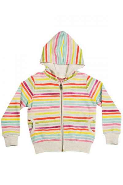 Stripes Big Girls Boutique Hoodie Jacket (Organic Cotton)