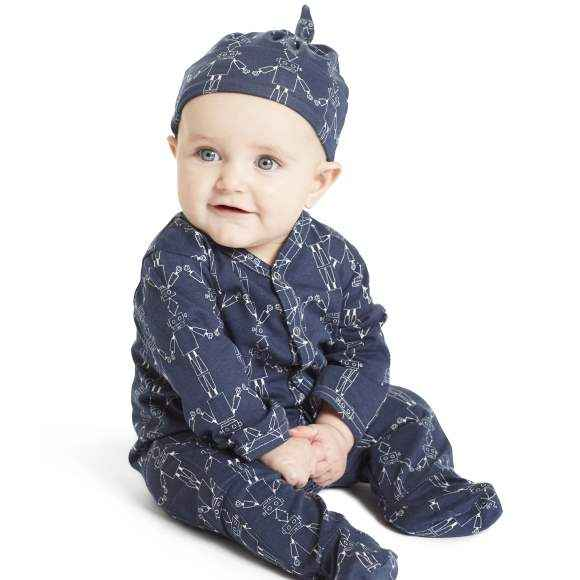 Robot Print Navy Blue Long Sleeve Footed Baby Romper and Hat Outfit Gift Set (Organic Cotton)