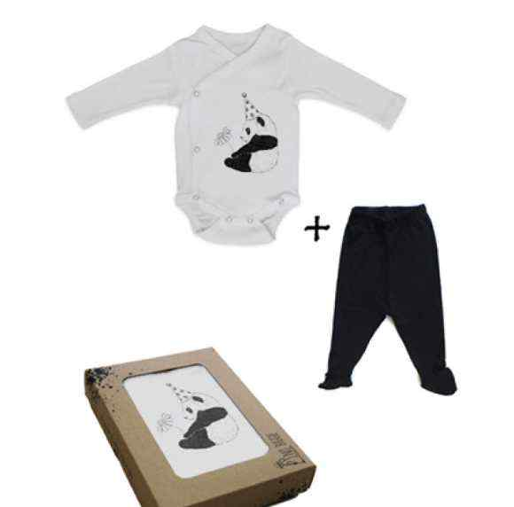 Panda Baby Outfit Gift Set with Long Sleeve Bodysuit and Footed Pants (Organic Cotton)