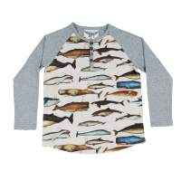 Whale Print Organic Cotton Long Sleeve Big Boys Henley Shirt