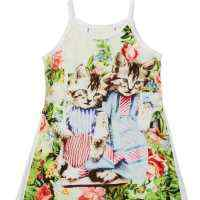 Vintage Kitten Organic Cotton Sleeveless Baby Girl Romper