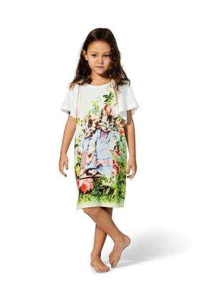 Antique Kitten Short Sleeve Big Girls Dress (Organic Cotton)