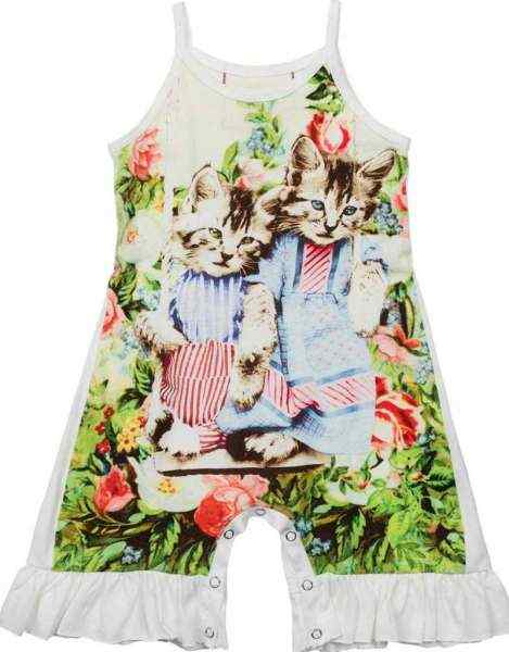Vintage Kitten Sleeveless Baby Girl Romper (Organic Cotton)