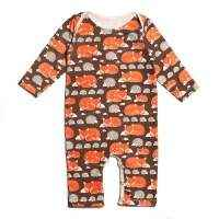 Fox Print Organic Cotton Long Sleeve Baby Playsuit (American Made)