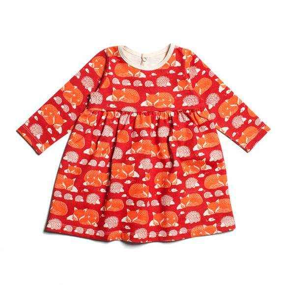 Fox Long Sleeve Baby Girl Dress (American Made & Organic Cotton) - ONLY ONE LEFT!