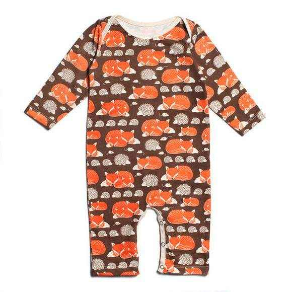 Fox Print Long Sleeve Baby Playsuit Romper & One Piece Pajamas (American Made & Organic Cotton)