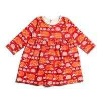 Organic Cotton Long Sleeve Fox and Hedgehog Baby Dress