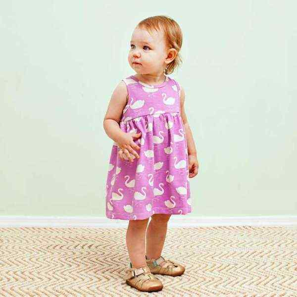 Swan Magenta Sleeveless Baby Girl Dress (American Made and Organic Cotton)