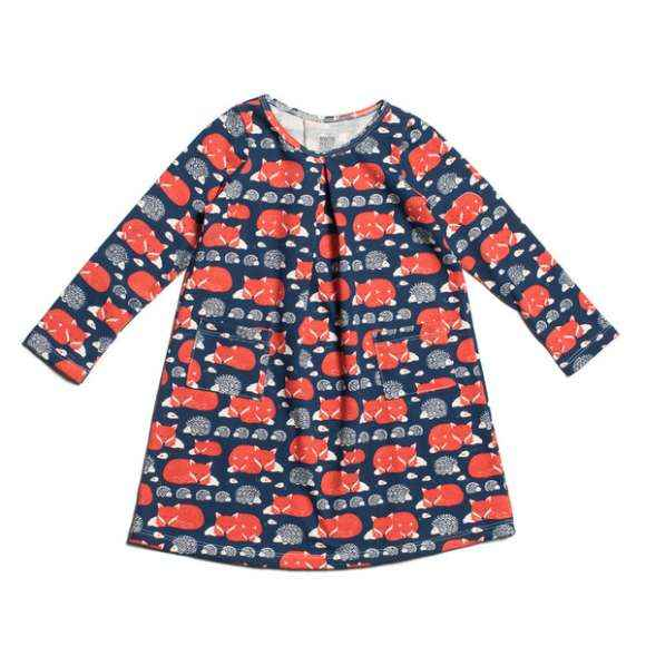Fox Print Long Sleeve Little Girls Dress (American Made & Organic Cotton)