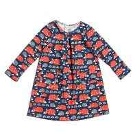 Fox Print Organic Cotton Long Sleeve Little Girls Dress (American Made)