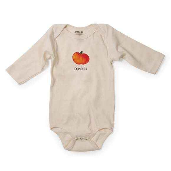 Pumpkin Long Sleeve Baby Bodysuit (Organic Cotton)