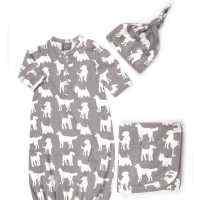Dog Print Snuggle Organic Cotton Baby Gown, Hat & Blanket Gift Set
