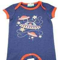 Martian Organic Cotton & Bamboo Blue Short Sleeve Baby Romper