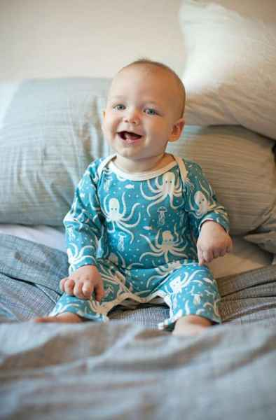 Octopus Print Long Sleeve Baby Playsuit Romper and One Piece Pajamas (American Made and Organic Cotton)