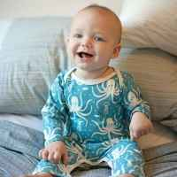 Turquoise Octopus Organic Cotton Baby Playsuit - ONLY THREE LEFT!