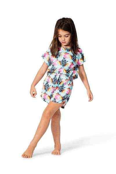 Big Girls Romper with Unicorn Rainbow Print (Organic Cotton)