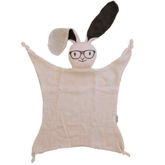 Pink Bunny Baby Girl Lovey Security Blanket (Organic Cotton Muslin)