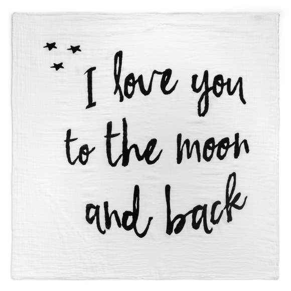 To the Moon and Back Baby Swaddle Blanket (Organic Cotton Muslin)