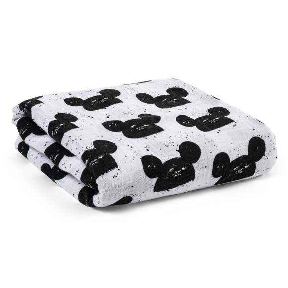Modern Mouse Baby Black and White Swaddle Blanket (Organic Cotton Muslin)