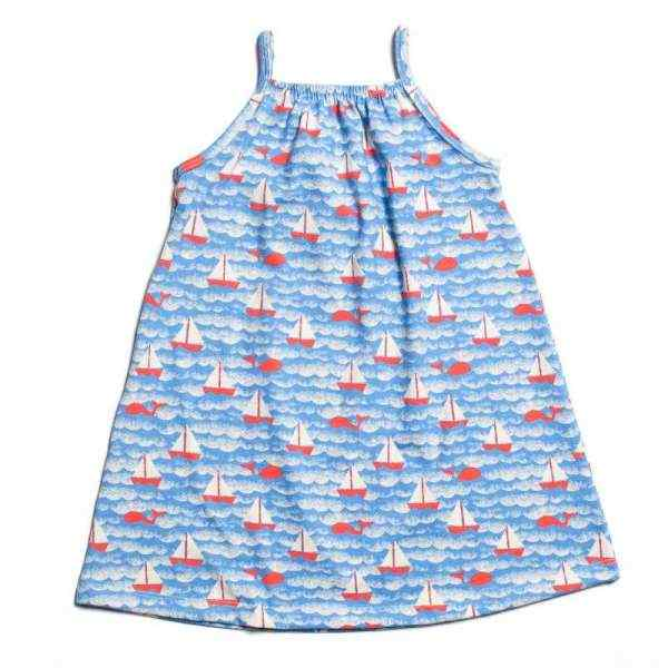 Spaghetti Strap Sailboat Print Little Girls Dress (American Made & Organic Cotton)