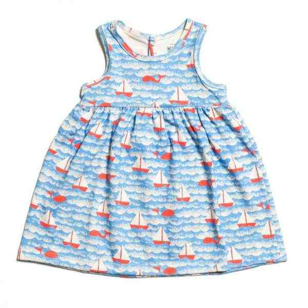 Sailboat Sleeveless Summer Baby Girl Dress (American Made and Organic Cotton)