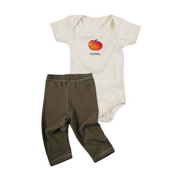 Pumpkin Baby Outfit Gift Set with Short Sleeve Bodysuit and Pants (Organic Cotton)